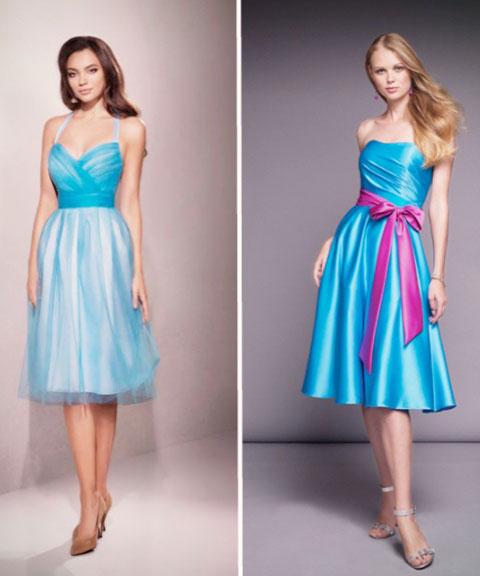платье синего цвета с открытыми плечами